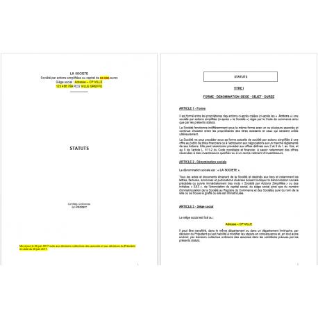 Statuts SAS complets