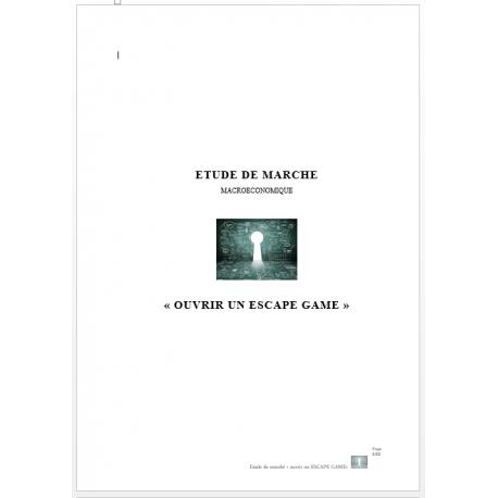 """Etude de marché """"Ouvrir un Escape game"""" (Word)"""